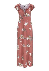 Różowa sukienka Happy Holly maxi, z krótkim rękawem