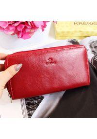 Krenig - Portfel skórzany damski KRENIG Classic 12014 czerwony. Kolor: czerwony. Materiał: skóra