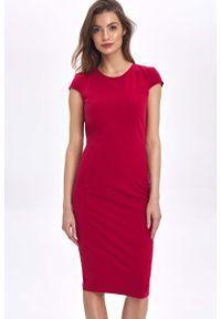 Czerwona sukienka wizytowa Nife mini, z krótkim rękawem, ołówkowa
