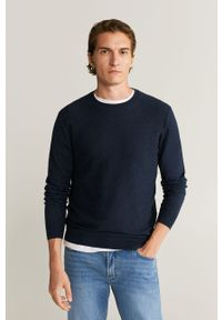 Niebieski sweter Mango Man długi, z okrągłym kołnierzem, z długim rękawem