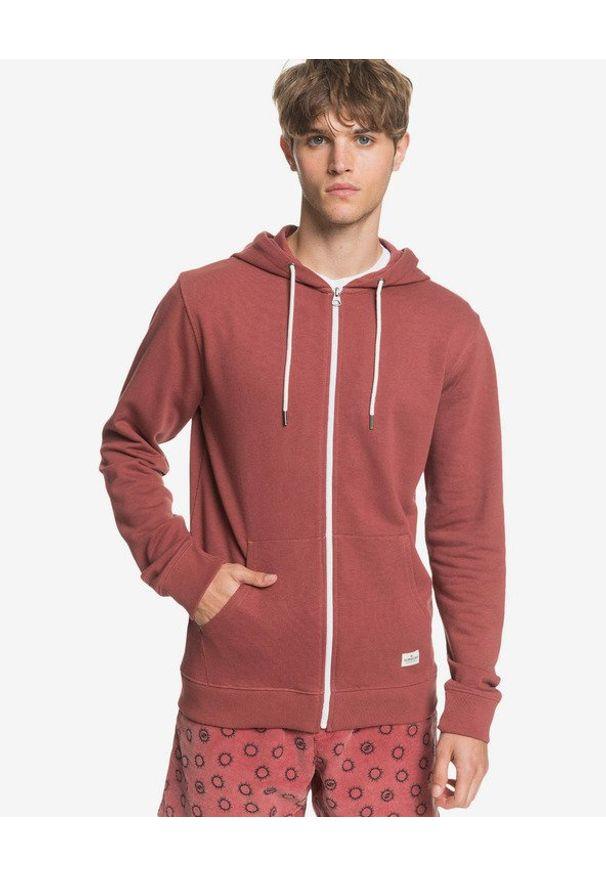 Czerwona bluza Quiksilver z kapturem, w kolorowe wzory, długa