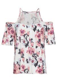 Shirt cold-shoulder z koronką bonprix biel wełny w kwiaty. Kolor: biały. Materiał: koronka, wełna. Długość rękawa: krótki rękaw. Długość: krótkie. Wzór: kwiaty, koronka