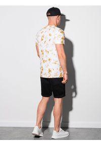 Ombre Clothing - T-shirt męski bawełniany S1373 - beżowy/biały - XXL. Kolor: biały. Materiał: bawełna. Długość: krótkie. Sezon: lato