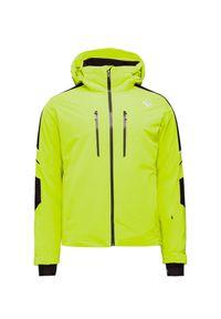 Zielona kurtka narciarska Descente z kontrastowym kołnierzykiem, na zimę