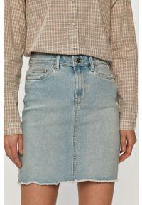 Vero Moda - Spódnica jeansowa. Okazja: na co dzień. Stan: podwyższony. Kolor: niebieski. Materiał: jeans. Styl: casual