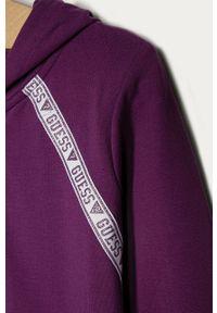 Fioletowa bluza rozpinana Guess na co dzień, casualowa, z nadrukiem, z kapturem