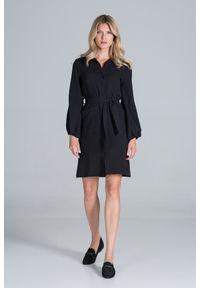 Figl - Koszulowa Sukienka Bawełniana z Długim Bufiastym Rękawem - Czarna. Kolor: czarny. Materiał: bawełna. Typ sukienki: koszulowe