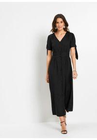 Sukienka z wiskozy bonprix czarny. Kolor: czarny. Materiał: wiskoza