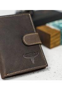 BUFFALO WILD - Skórzany portfel męski brązowy Buffalo Wild RM-04L-HBW BROWN. Kolor: brązowy. Materiał: skóra