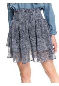 TOP SECRET - Szyfonowa spódniczka mini z falbanką. Kolor: niebieski. Materiał: szyfon. Długość: długie. Sezon: lato