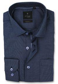 Niebieska elegancka koszula Rey Jay długa, z długim rękawem