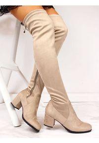 Navy dot - Kozaki damskie muszkieterki beżowe NAVY DOT. Wysokość cholewki: za kolano. Kolor: beżowy. Materiał: zamsz. Szerokość cholewki: normalna