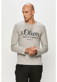Szara koszulka z długim rękawem s.Oliver na co dzień, z nadrukiem