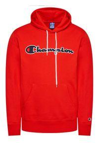Champion Bluza Satin Script Logo Terry Hoodie 214183 Czerwony Comfort Fit. Kolor: czerwony