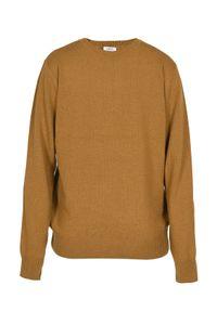 Żółty sweter VEVA klasyczny, w kolorowe wzory, z klasycznym kołnierzykiem