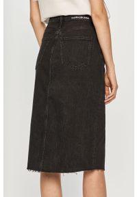Czarna spódnica Calvin Klein Jeans na co dzień, gładkie, z podwyższonym stanem, casualowa