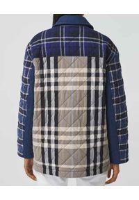 Burberry - BURBERRY - Pikowana koszula patchwork. Kolor: niebieski. Materiał: bawełna. Wzór: kratka, aplikacja