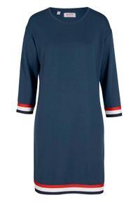 Sukienka dresowa bonprix ciemnoniebieski. Kolor: niebieski. Materiał: dresówka