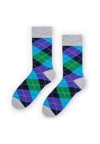More - Skarpetki męskie w romby/argyle - niebieski, zielony, szary SK242. Kolor: zielony, niebieski, wielokolorowy, szary. Materiał: bawełna, poliamid, elastan. Wzór: kolorowy