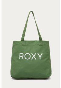 Zielona shopperka Roxy z nadrukiem, duża