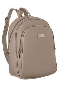 DAVID JONES - Plecak damski beżowy David Jones CM6010 CAMEL. Kolor: beżowy. Materiał: skóra ekologiczna