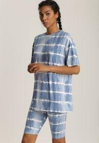 Renee - Niebieski 2-Częściowy Komplet Dresowy Absyrobus. Kolor: niebieski. Materiał: dresówka. Wzór: paski