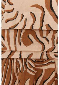 Scotch & Soda - Sukienka. Kolor: brązowy. Materiał: tkanina, bawełna. Typ sukienki: rozkloszowane