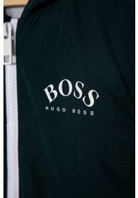 Niebieska kurtka BOSS z kapturem, casualowa, gładkie, na co dzień