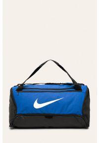 Niebieska torba podróżna Nike sportowa, z nadrukiem