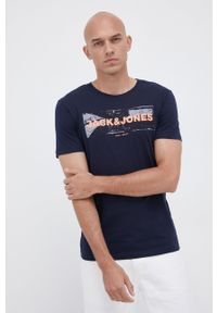 Jack & Jones - T-shirt bawełniany. Okazja: na co dzień. Kolor: niebieski. Materiał: bawełna. Wzór: nadruk. Styl: casual