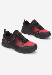 Born2be - Czerwone Buty Trekkingowe Dalinella. Okazja: na co dzień. Nosek buta: okrągły. Kolor: czerwony. Materiał: nubuk, syntetyk. Wzór: aplikacja. Obcas: na płaskiej podeszwie