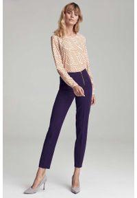 Fioletowe spodnie z wysokim stanem Nife eleganckie