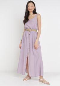 Born2be - Liliowa Sukienka Cherinoe. Kolor: fioletowy. Długość rękawa: na ramiączkach. Długość: maxi