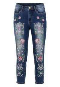 Niebieskie jeansy bonprix z haftami, eleganckie