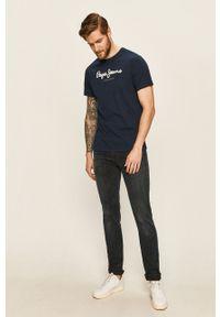 Pepe Jeans - T-shirt. Okazja: na co dzień. Kolor: niebieski. Materiał: dzianina. Styl: casual