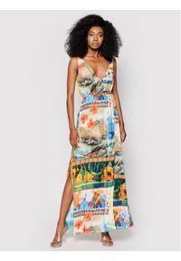 Desigual Sukienka letnia Hawai 20SWMW17 Kolorowy Regular Fit. Wzór: kolorowy. Sezon: lato