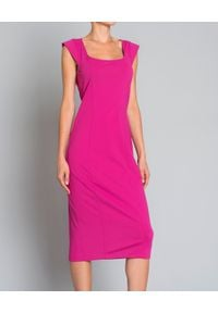 Pinko - PINKO - Sukienka na ramiączkach. Okazja: na co dzień. Kolor: wielokolorowy, różowy, fioletowy. Długość rękawa: na ramiączkach. Wzór: aplikacja. Typ sukienki: proste. Styl: klasyczny, elegancki, casual. Długość: midi