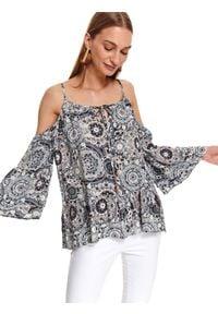 TOP SECRET - Printowana bluzka z odkrtymi ramionami. Kolor: niebieski. Materiał: materiał. Długość rękawa: na ramiączkach. Długość: długie. Sezon: jesień