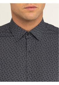 Czarna koszula biznesowa Karl Lagerfeld z dekoltem karo