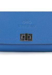 Niebieska listonoszka Wittchen na ramię, skórzana, mała, z aplikacjami