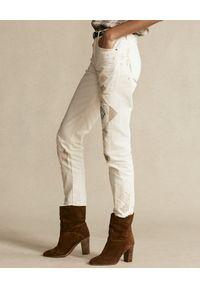 Ralph Lauren - RALPH LAUREN - Beżowe spodnie z aplikacją. Kolor: beżowy. Materiał: bawełna. Wzór: aplikacja #6