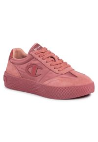 Różowe buty sportowe Champion na koturnie, na co dzień, z cholewką
