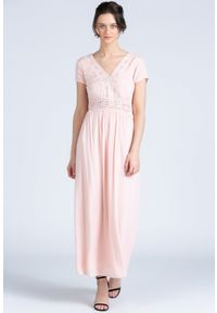 Różowa sukienka Monnari maxi, z dekoltem w serek, z krótkim rękawem