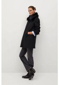 Czarny płaszcz mango casualowy, bez kaptura, na co dzień