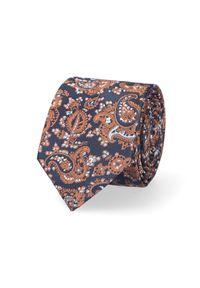 Lancerto - Krawat Granatowo-Pomarańczowy Paisley. Kolor: pomarańczowy, niebieski, wielokolorowy. Materiał: mikrofibra, materiał. Wzór: paisley. Styl: elegancki
