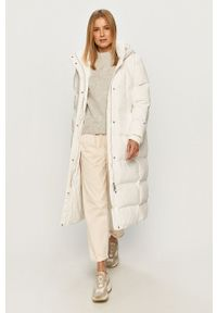 Biała kurtka Guess Jeans z kapturem