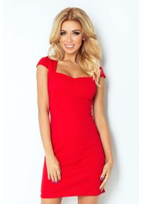 Czerwona sukienka wizytowa Numoco z krótkim rękawem, mini