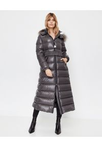 Szary płaszcz MONCLER elegancki, z długim rękawem