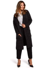 MOE - Grafitowy Długi Sweter-Kardigan z Kieszeniami. Kolor: szary. Materiał: bawełna, poliester, poliamid, akryl. Długość: długie