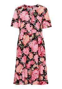 Soyaconcept Wzorzysta sukienka z wiskozy Paris Czarny w kwiaty female czarny/ze wzorem XL (44). Typ kołnierza: kołnierz z falbankami. Kolor: czarny. Materiał: wiskoza. Wzór: kwiaty